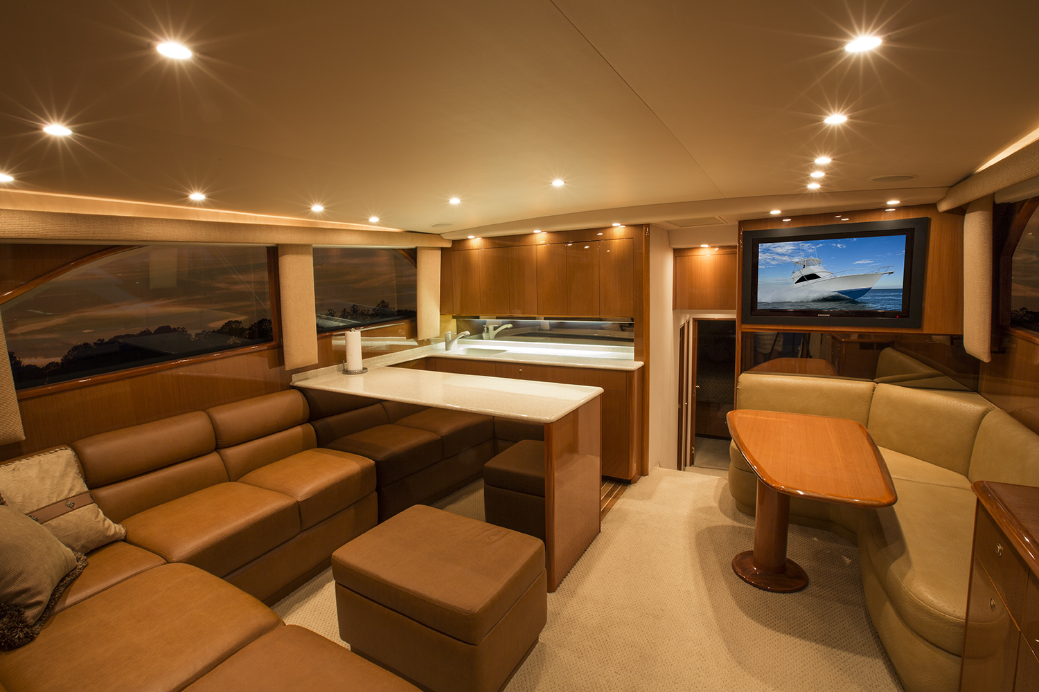 luxury fishing charter cabin
